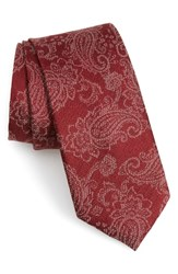 Calibrate Dunsford Paisley Silk Blend Tie Red