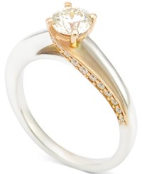 Macy's Diamond Two Tone Solitaire Engagement Ring 1 Ct. T.W. In 14K White Gold With Rose Gold Plating White Gold And Rose Gold