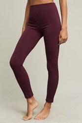 Anthropologie Fleece Lined Cabeled Leggings Plum