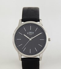 Limit Black Faux Leather Watch With Stripe Dial Exclusive To Asos