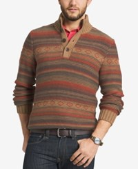 G.H. Bass And Co. Men's Striped Three Button Sweater Kangaroo Heather