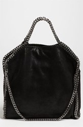 Stella Mccartney 'Falabella Shaggy Deer' Faux Leather Foldover Tote Black