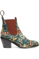 Chloe Boucle Jacquard Ankle Boots Blue