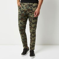 River Island Mens Green Washed Camo Skinny Chino Trousers