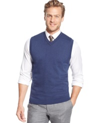 Tasso Elba Solid Link Knit Vest Only At Macy's Navy Heather
