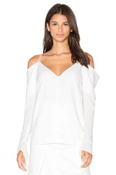 C Meo Collective Cold Shoulder Long Sleeve Top White