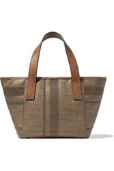 Brunello Cucinelli Woman Leather Trimmed Bead Embellished Coated Canvas Tote Mushroom