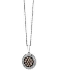 Le Vian Diamond Chocolate And White Diamond Oval Pendant 3 8 Ct. T.W. In 14K White Gold