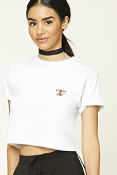 Forever 21 Tiger Boxy Crop Top White