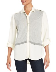 Calvin Klein Jeans Button Front Mock Layer Shirt Misty White
