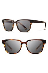 Women's Shwood 'Prescott' 52Mm Polarized Acetate And Wood Sunglasses Tortoise Ebony Grey Polar
