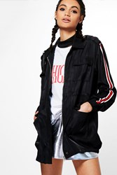 Boohoo Sporty Sleeve Stripe Utility Jacket Black