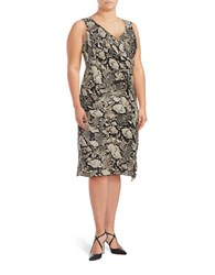 Jones New York Plus Sleeveless Viper Print Faux Wrap Dress Taupe