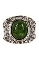 Sterling Silver Chrome Diopside Floral Ring Green