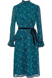 Anna Sui Guipure Lace Trimmed Printed Silk Chiffon Peplum Dress Teal