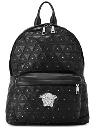Versace Quilted Medusa Backpack Men Leather Metal One Size Black