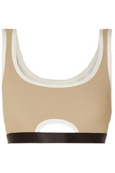 Heroine Sport Crescent Cutout Ribbed Stretch Jersey Sports Bra Sand