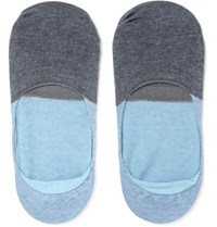 Anonymous Ism Two Tone Cotton Blend No Show Socks Blue