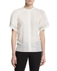 Burberry Short Sleeve Pleated Silk Blouse White