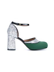Marni Glitter Mary Jane Pumps Green