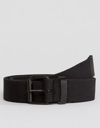 Asos Slim Black Woven Belt With Distressing Black