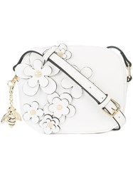 Christian Siriano Floral Embellished Crossbody Bag White