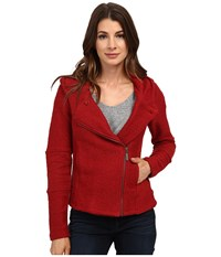 Lucky Brand Hooded Active Jacket Red Multi Women's Coat