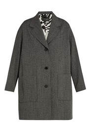 Isabel Marant Jagger Oversized Wool Herringbone Duster Coat Grey