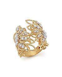 Roberto Coin 18K White And Yellow Gold New Barocco Open Ring With Diamonds White Gold