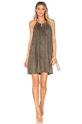 Bishop Young Suede High Neck Shift Dress Olive
