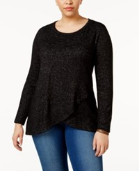 Ing Trendy Plus Size Crossover Sweater Black Marble