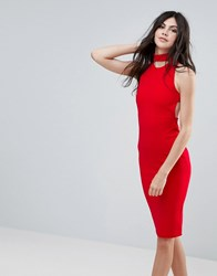 Missguided Red Choker Neck Cross Back Midi Dress Red