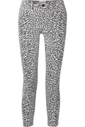 Current Elliott The Stiletto Leopard Print Mid Rise Skinny Jeans Leopard Print