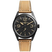 Bell And Ross Brev123 Heritage Men's Vintage Original Leather Strap Watch Tan Black