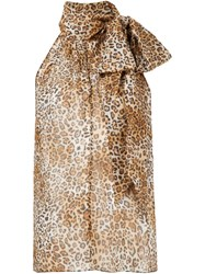 Saint Laurent Leopard Print Blouse Brown