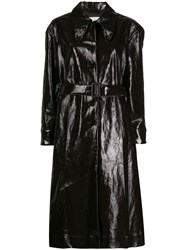 Christophe Lemaire Belted Patent Leather Effect Trench Brown