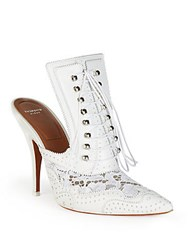 Givenchy Leather And Lace Lace Up Mules White