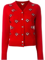 Marc Jacobs Embellished Cardigan Red