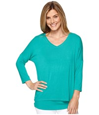 Tribal 3 4 Sleeve V Neck Jersey Layer Top Kelly Green Women's Long Sleeve Pullover