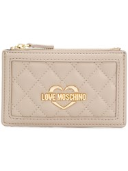Love Moschino Quilted Coin Purse Nude And Neutrals