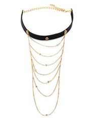 Ettika Multi Chain Drop Leather Choker Black