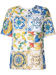 Dolce And Gabbana Majolica Print Broderie Anglaise T Shirt Multicolour