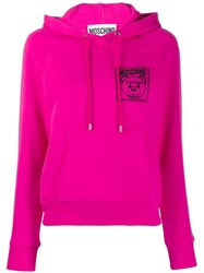Moschino Embroidered Teddy Bear Hoodie Pink