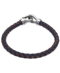 Esquire Men's Jewelry Black And Brown Leather Bracelet In Stainless Steel First At Macy's Silver