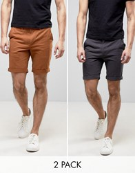 D Struct Turn Up Chino Shorts 2 Pack Navy