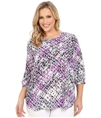 Nydj Plus Size Plus Size Solid 3 4 Sleeve Pleat Back Dream On Chevron Women's Long Sleeve Button Up Purple