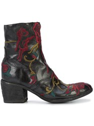 Fauzian Jeunesse Embroidered Ankle Boots Leather Rubber 36.5 Black