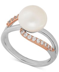 Honora Style Cultured Freshwater Pearl 9 1 2Mm And Swarovski Zirconia Ring In Sterling Silver And 10K Rose Gold White