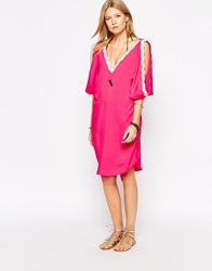 Liquorish Cold Shoulder Caftan With White Metallic Trims Pink