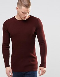 Asos Longline Muscle Fit Ribbed Sweater Burgundy